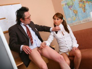 Old teacher is staring at Samantha's pussy hidden under the panties
